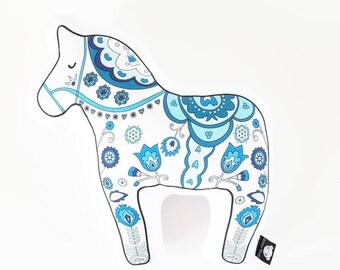 Dala horse, animal pillow, decorative pillow, throw pillow, animal cushion, nursery pillow, scandinavian pillow, animal home decor,  horse