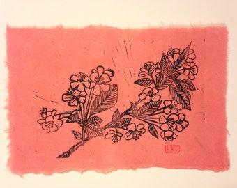 Apple Blossoms Linoleum Block Print Pink