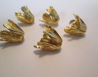 Goldtone flower bead caps tassel top 5 for 4.99   17x16x2mm