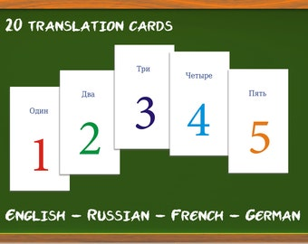 Numbers 0 to 19 translation cards - learn to count in Russian / French / German / Spanish / English, Play fun game + Learn a language