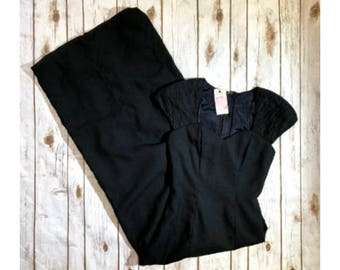 Vintage Alfred Angelo Black Formal Dress, 80s Full Length Union Made New Vintage 80s Prom Dress, Women's Size 3/4, Vintage 80s Formal Dress