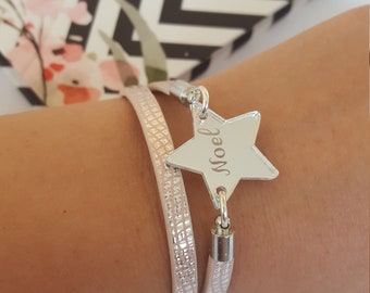 Engraved star pendant on pink silver double bracelet, Everyday pink silver bracelet with personaliyed star charm
