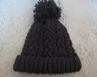 Navy Allan cable knit cap