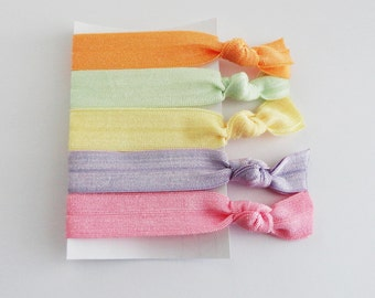 Elastic Hair Ties, Emi-Jay Style  Pastel Hair Ties/ Bracelets for Girls & Women, Pastel Collection Elastic Knotted Hair Ties