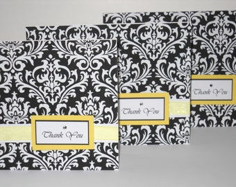 Wedding Thank You Cards, Elegant Damask, Set of 12/Bridal Shower Thank You Notes/Choose Your Colors/Matching Invitations, Favor Tags