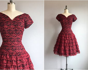 Vintage 50s Lace Prom Dress / 1950s Black and Red Lace Ruffled Cupcake Prom Party Dress with Sweetheart Neck
