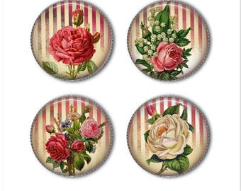 Victorian roses magnets or pins, shabby chic magnets or pins, old fashioned, refrigerator magnets, fridge magnets, office magnets