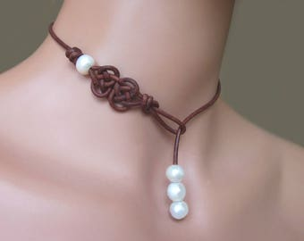 Leather Lariat Freshwater Pearl Choker Necklace Womens Girls Casual Jewelry Gift White Pearls Single Dangle Celtic Knots Boho
