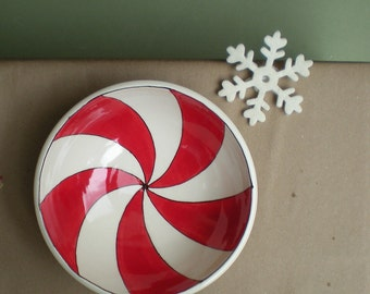 SALE small holiday red peppermint swirl bowl, seasonal candy dish, christmas decor for home, gift for hostess under 25