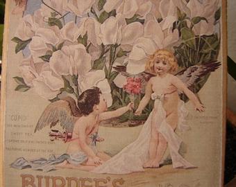 sweet pea cherubs, fairies & flowers, vintage seed packet image, wooden decorative hanging tag