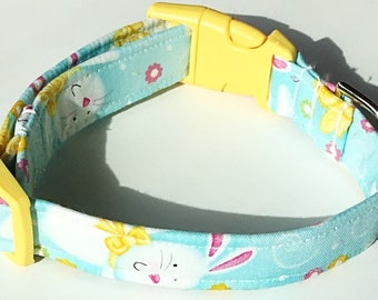 Blue and Yellow  Easter Bunny Dog and Cat Collar