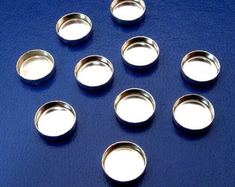 Bezel Settings - 8 mm Round Plain 925 Sterling Silver Bezel Cups - Quantity TEN (10)