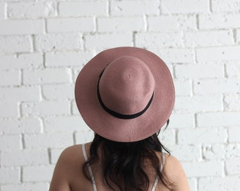 Antique rose straw hat / Boho floppy hat / Wide Brim Hat / pink straw hat