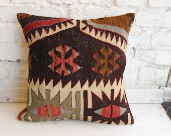 "Kilim Pillow Cover,Ethnic Pillow,16""x16""inches,40x40 cm"
