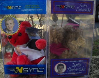 2 Blast From the Past.... Vintage NSYNC Justin Timberlake Two Limited Edition Different Bears in Original Case's