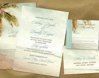 Vintage Palm Beach Wedding Invitation Set with Reply Boarding Pass //  Sand Beach // Destination Wedding Caribbean Locales