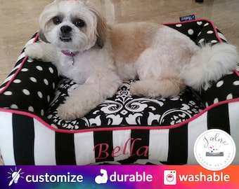 Black and White Dog Bed or Cat Bed | Pink, dramatic, Stripe, damask | Flippable, Washable & High Quality