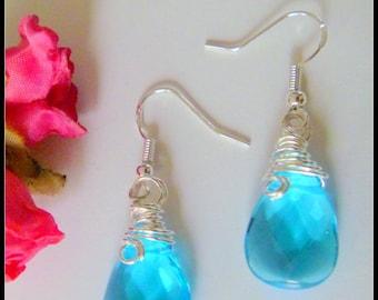 Blue Glass Briolette Wire Wrapped Earrings Sterling Silver Ear Wires