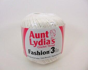 White - Aunt Lydia's Crochet Cotton Fashion Size 3