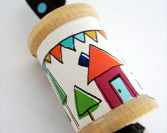 handmade wooden folk art spool ornament ... Home
