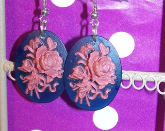 Blue and pink cameo earrings