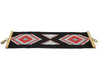 Bracelet en perles tissés noir