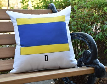 D Letter 16 inch Royal Blue Decorative Geometric Throw Outdoor Pillow