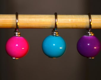 Pink, Blue & Purple glass bead handmade stitch markers for knitting (Qty 12)