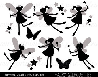 Fairy Silhouette Clipart, Fairy Clip Art, Digital Clipart Fairies, Fairy Princess, Star, Crown - Commercial & Personal - BUY 2 GET 1 FREE!