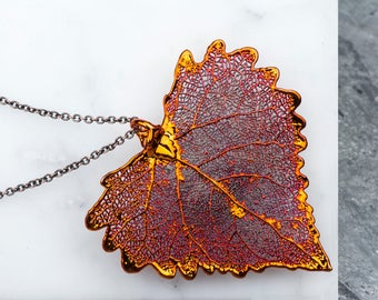 Leaf Necklace, Long Necklace Chain, Dipped Copper Cottonwood Large Leaf Pendant Necklace, Red Heart Leaf Jewelry, Nature Jewelry