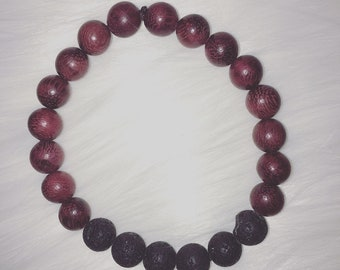 Wooden Bead Bracelet with Lava Beads - Stackable