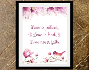 Valentines Day Gift | Gift for Her | Love Is Patient Wall Art | Valentines Decor | Valentine Gift | Valentines Day Art Decor | Printable Art
