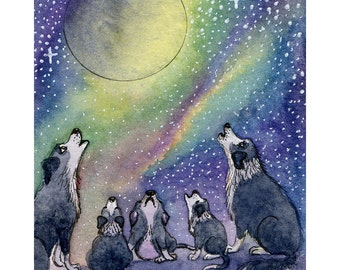 Border collie dog 8x10 print tribute to absent friends howling to the moon night singing family pups puppies remembering missing old friends