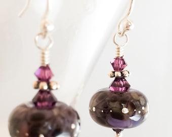 Purple Lampwork Glass Earrings - Purple Silver Earrings - Purple Amethyst Crystal Earrings - Purple Earrings - Purple Swarovski Earrings