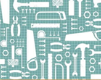 Tool Time Tools of the Trade in Turquoise 50282-3 by Whistler Studios for Windham Fabrics