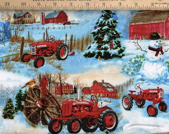 Farmall Tractors ,Winter,snowman on Farm Sykel Fabrics