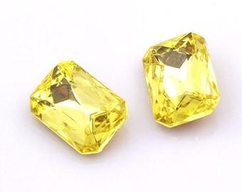Jonquil Yellow Faceted Glass Jewels Czech Crystal Octagon Gems 18x13mm - 2