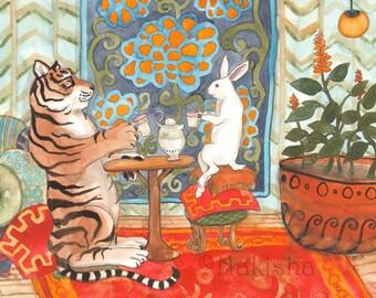 Tea with Tiger - Fine Art Rabbit Print