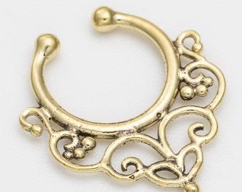 Septum clip. fake septum ring. septum cuff. septum ring. brass septum ring. tribal septum. faux septum. fake septum piercing. tribal jewelry