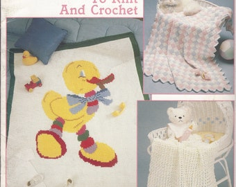 Leisure Arts Patterns Baby Afghans 4 to Knit and Crochet Leaflet 817 Copyrighted 1989 Never Used