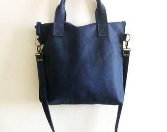 BLUE leather tote - Handbag - Cross-body bag - Every day bag - Women bag  - Shoulder leather bag