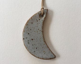 Ceramic Moon Ornament - Speckled Grey
