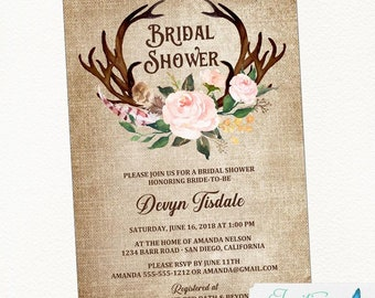 Blush Pink, Feather and Antler Bridal Shower Invitation, Rustic Bridal Shower, Country Bridal Shower, Boho Bridal Shower, floral bridal