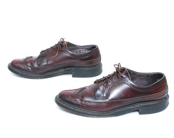 mens size 9.5 OXFORD oxblood leather 80's WINGTIPS dress shoes