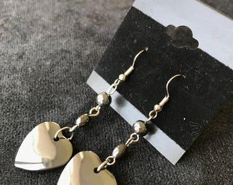 Metallic Heart Dangle Earrings