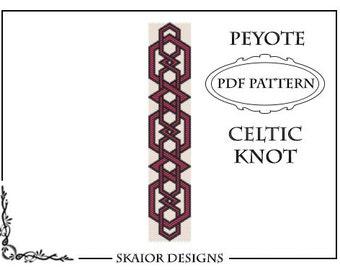 Beading Pattern Celtic Knot Bracelet Cuff PDF Seed Bead Peyote Pattern Tribal Folk Geometric Black White Gold Belt Bookmark