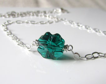 Clover Necklace, Emerald Green, Four Leaf Clover, Good Luck Pendant, Swarovski Crystal, Sterling Silver Chain, Wire Wrapped, Irish Charm