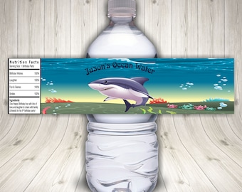 Shark Bottle Labels, Shark Party, Shark Birthday, Water Bottle Labels,