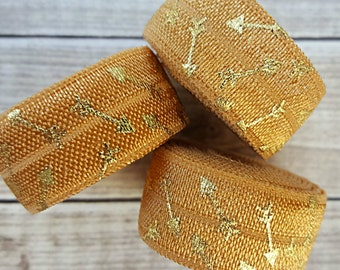 5/8 GOLD Foil Arrow Fold Over Elastic