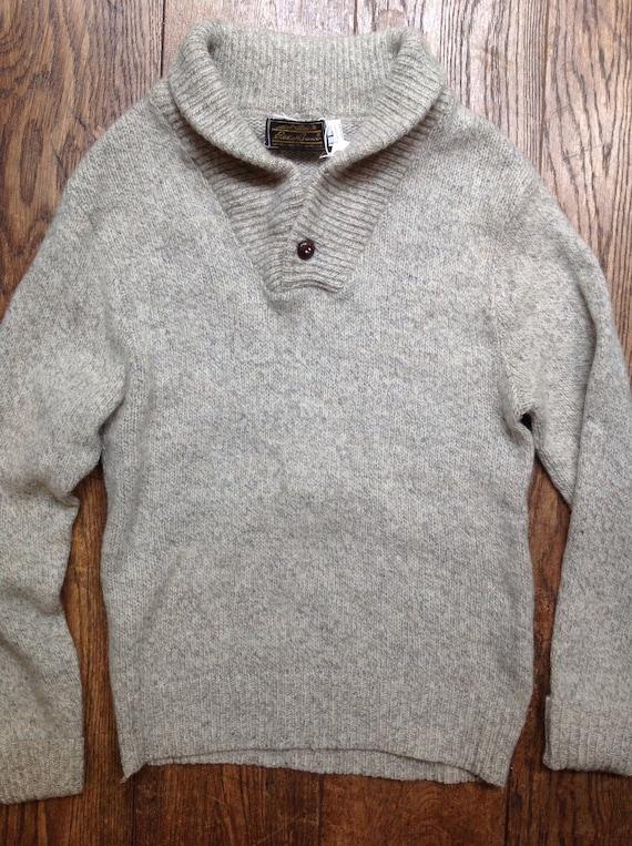 """Vintage grey marl Eddie Bauer shawl collar wool knitted sweater jumper 38"""" chest"""